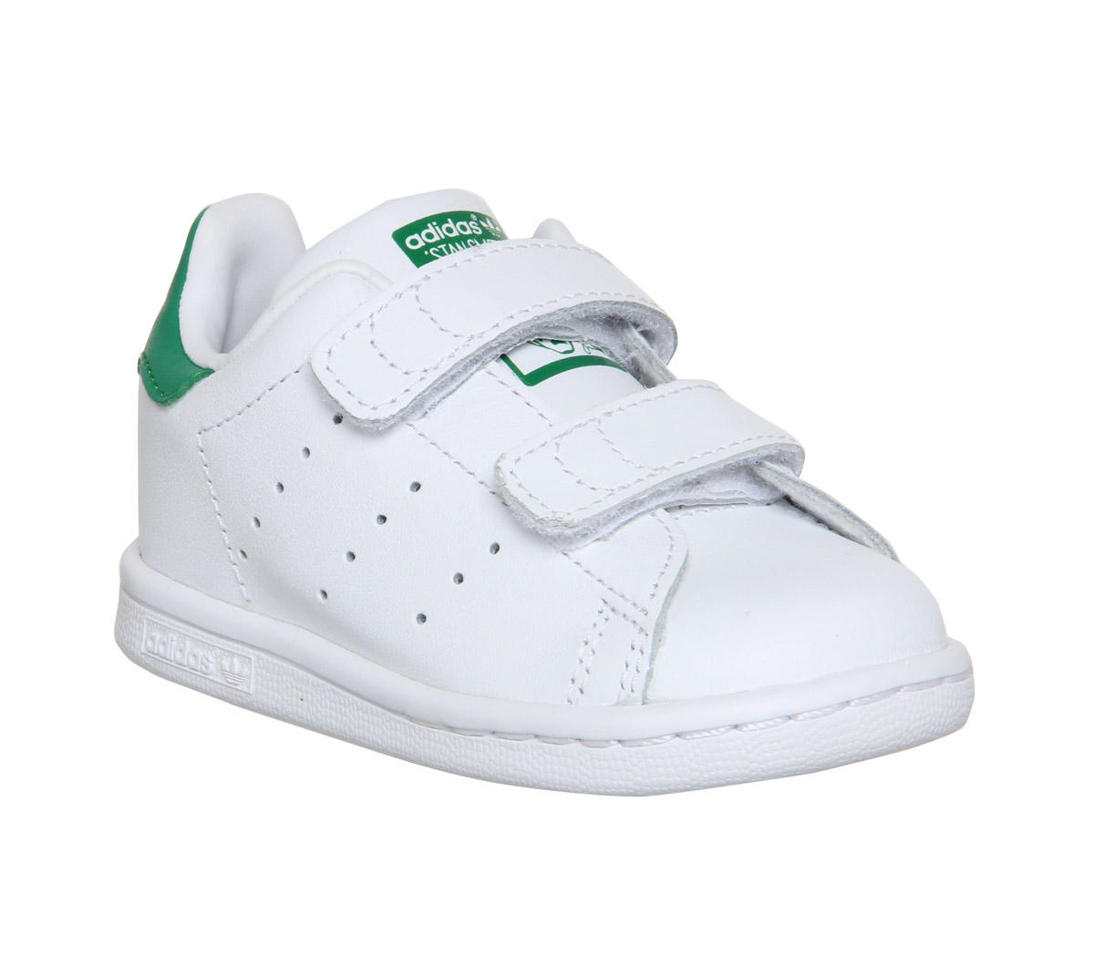 kids adidas stan smith cf td 3 9 white green velcro kids ebay. Black Bedroom Furniture Sets. Home Design Ideas