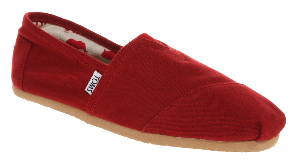 Mens-Toms-Toms-Canvas-Scarlet-Canvas-Casual-Shoes