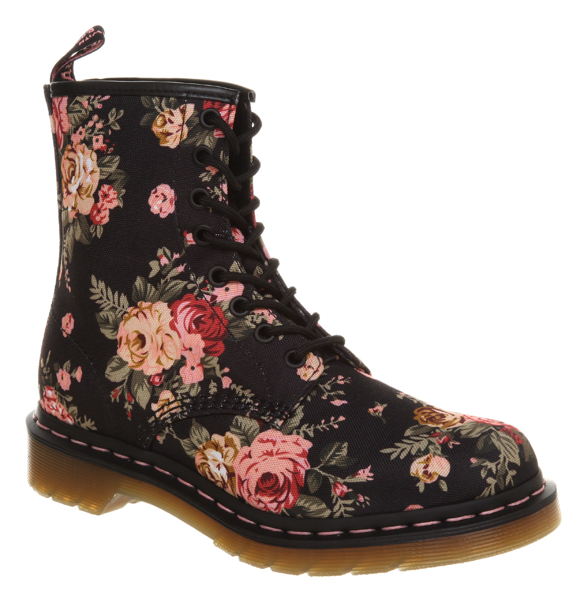 Womens-Dr-Martens-8-Eyelet-Lace-Up-Bt-Black-Floral-Boots