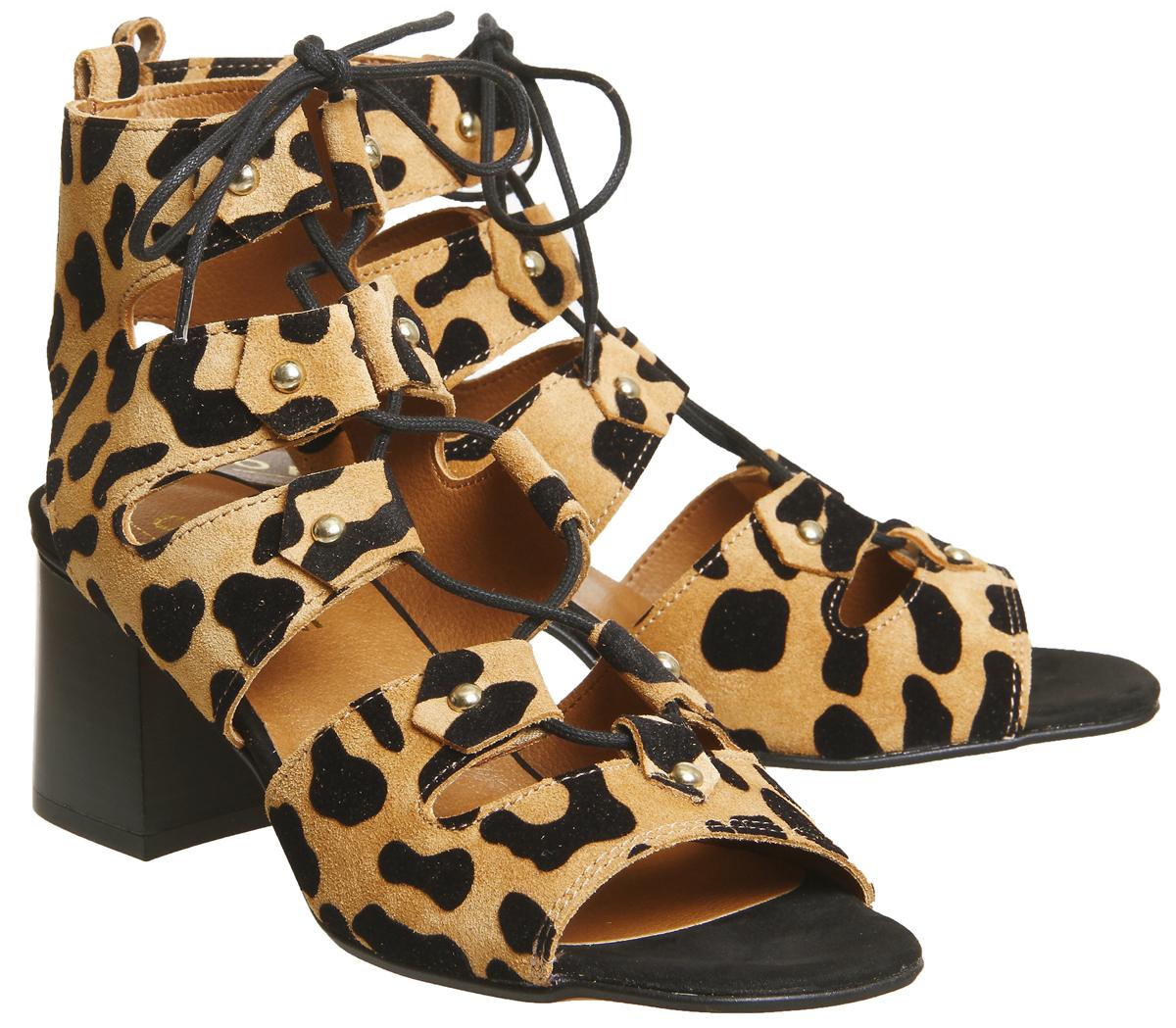 Womens Office Major Ghillie Block Heels Leopard Suede Heels