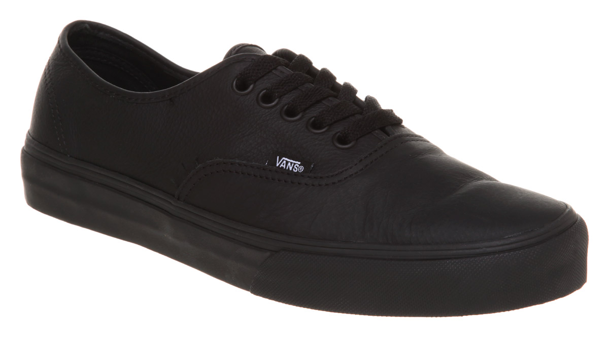 Image is loading Vans-Authentic-Leather-Black-Mono-Trainers b0c5c7a417fa