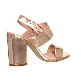 Womens Office Garland Strappy Block Heels ROSE GOLD Heels | eBay