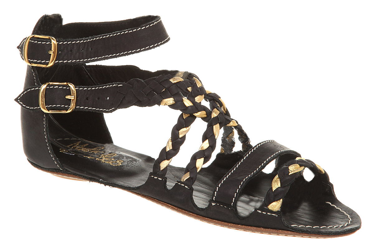 Womens-Maloles-Isabella-G-Flat-Plaited-S-Black-gold-Lth