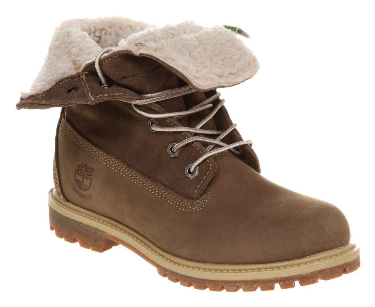 Womens Timberland Authentic Shearling Taupe Boots