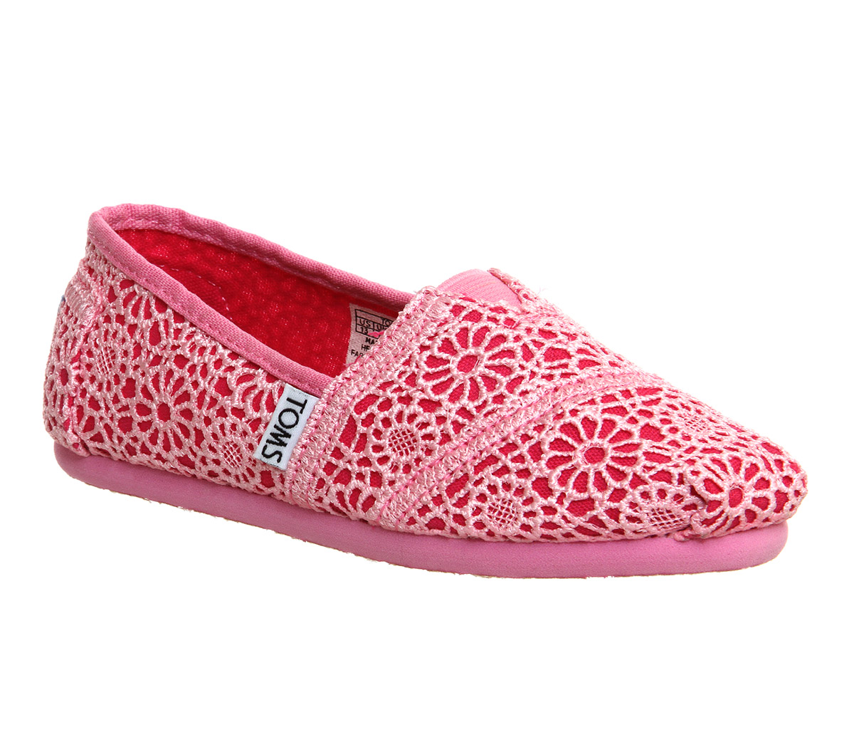 toms youth classics pink crochet