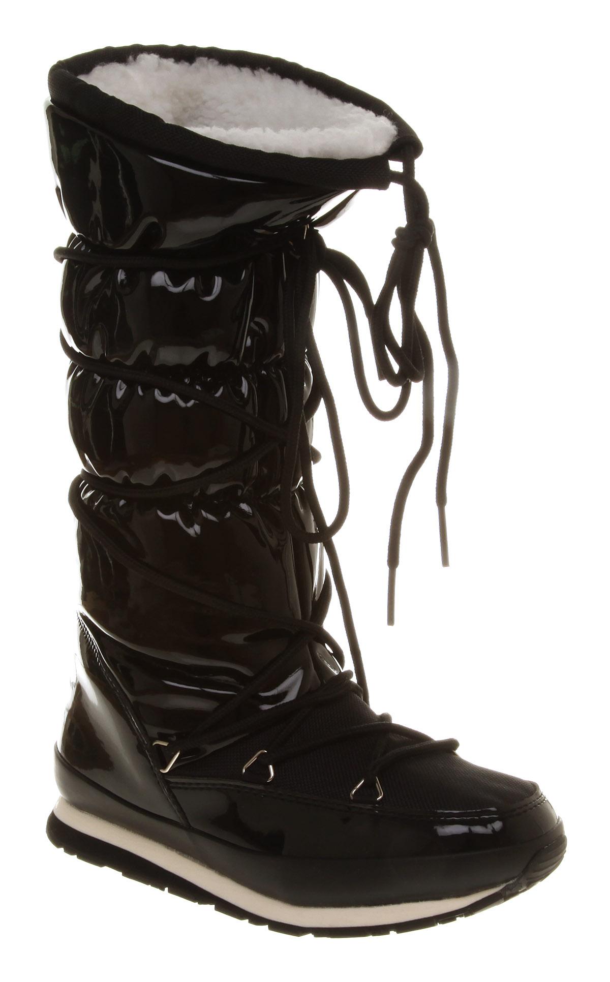 womens rubber duck arctic jogger black shiny pu boots