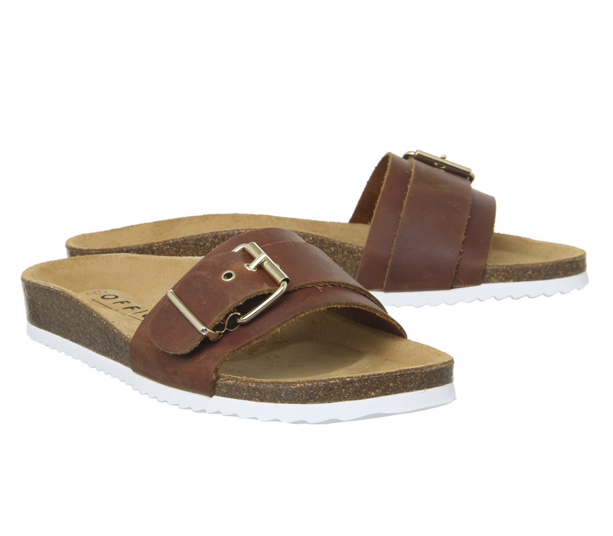 Womens Office Stereo Buckle Footbed Sandals Tan Leather Sandals