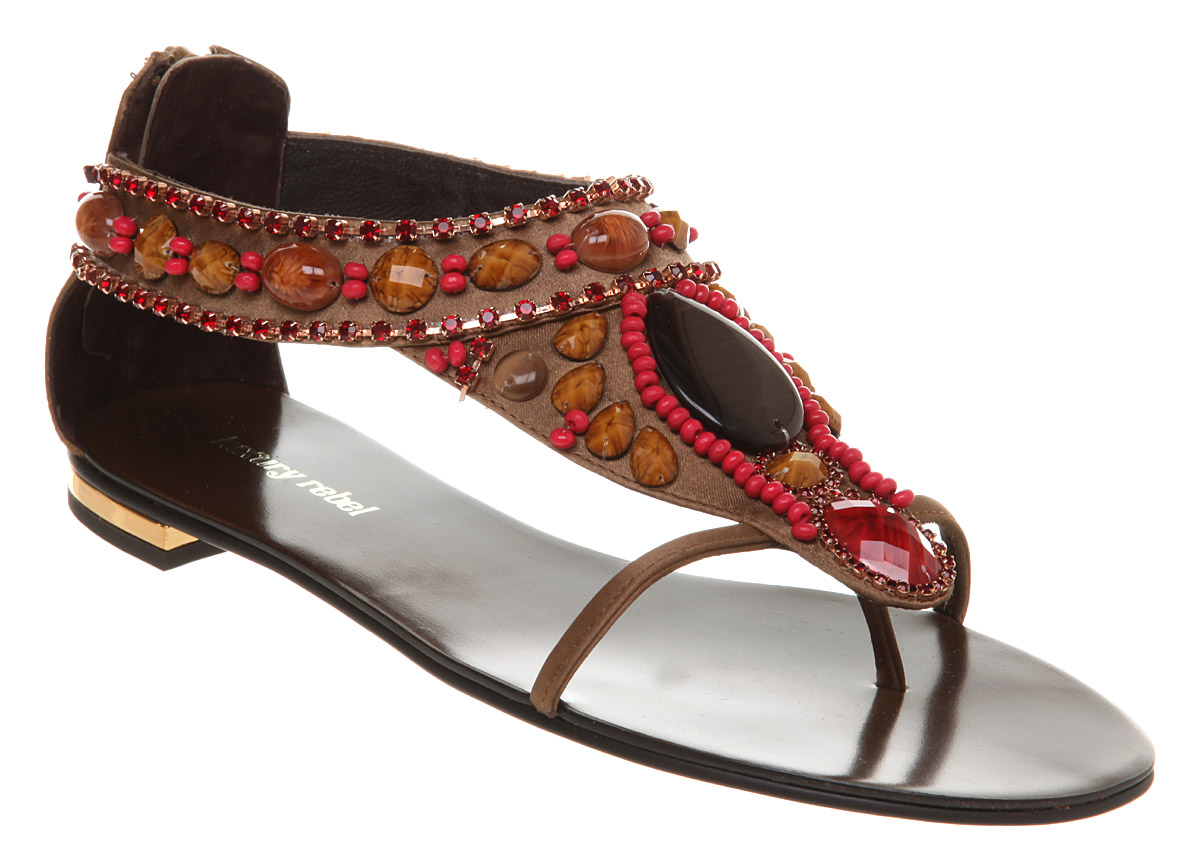 Womens-Poste-Mistress-Tonya-Bead-Flat-Sandal-Coffee-pin
