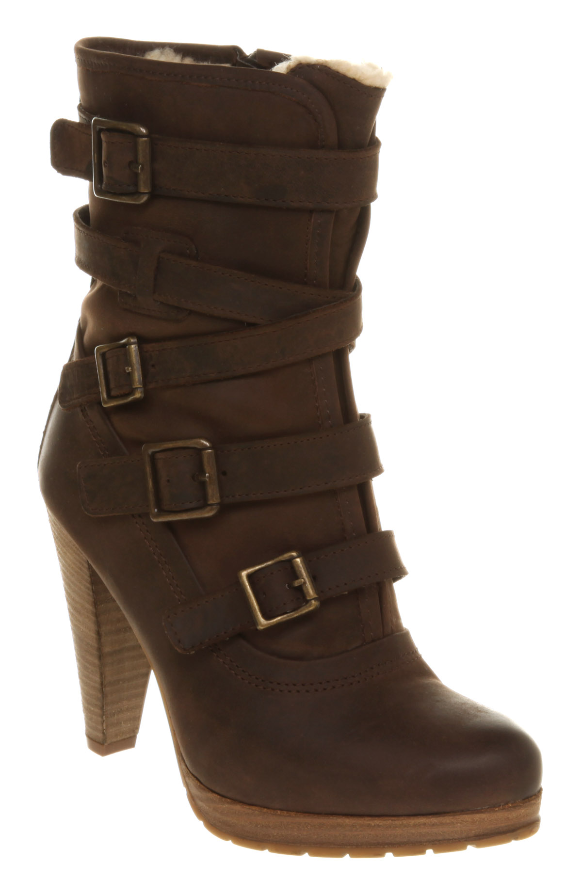 womens office keen buckle bootee brown leather boots ebay