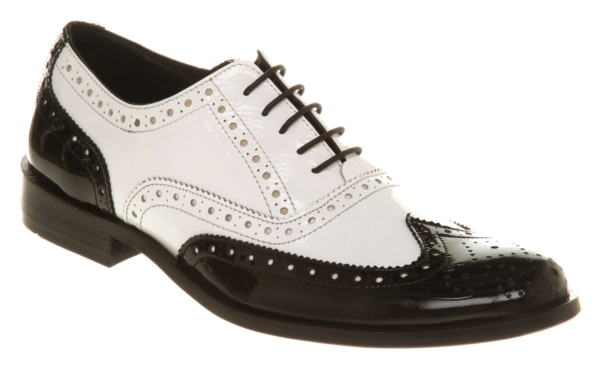 Mens office frankie brogue black white leather shoes ebay for Black and white shows