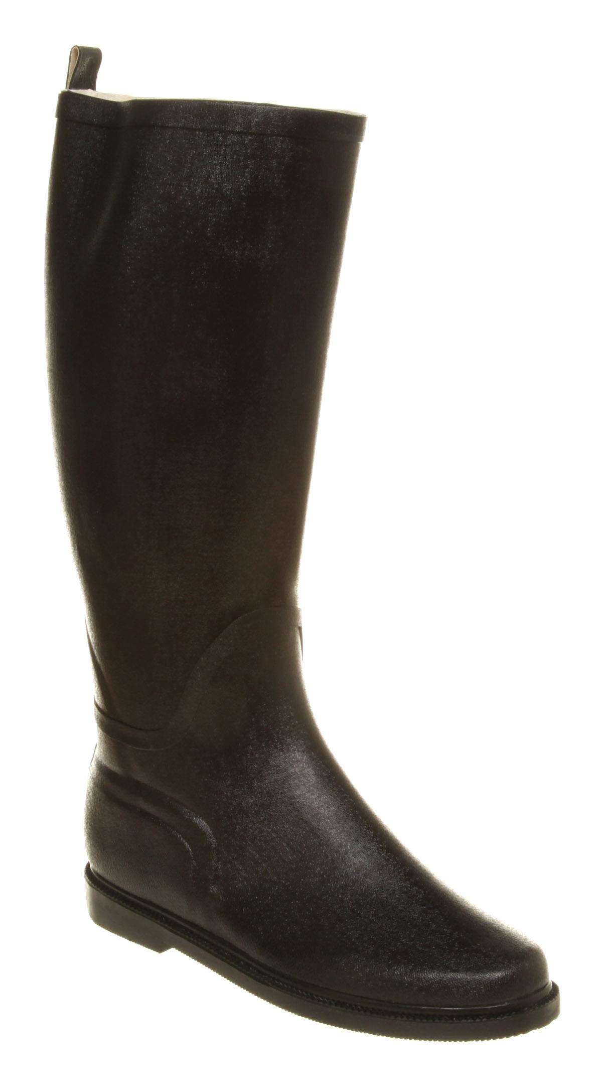 womens office equine welly black shiny rub boots ebay