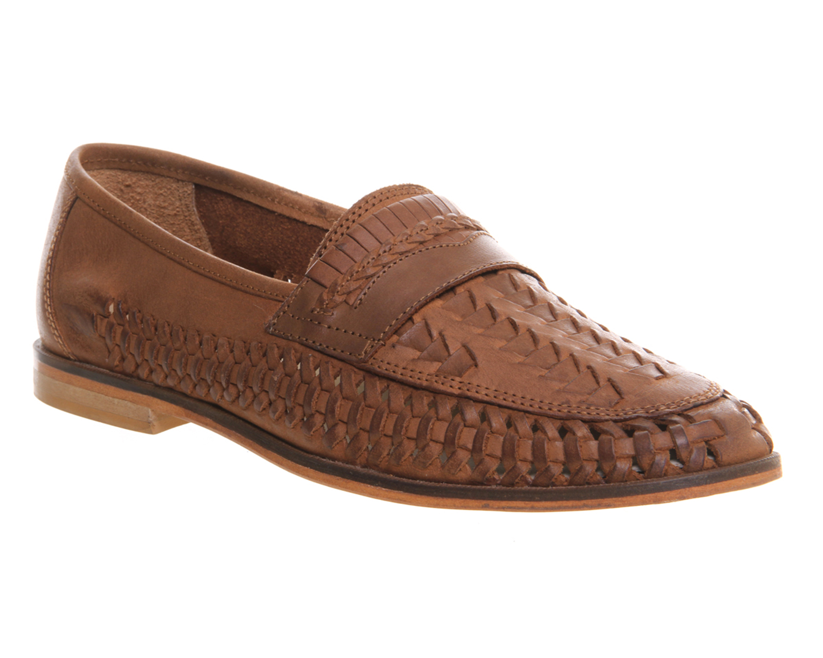 Mens Office Bow Weave Slip On Loafers Tan