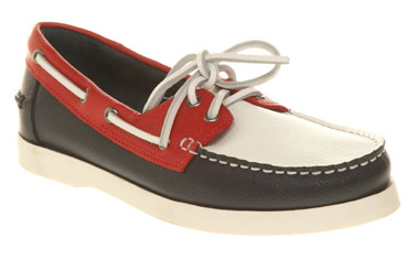 Womens-Office-Regatta-Boat-Shoe-Red-white-navy-Flats