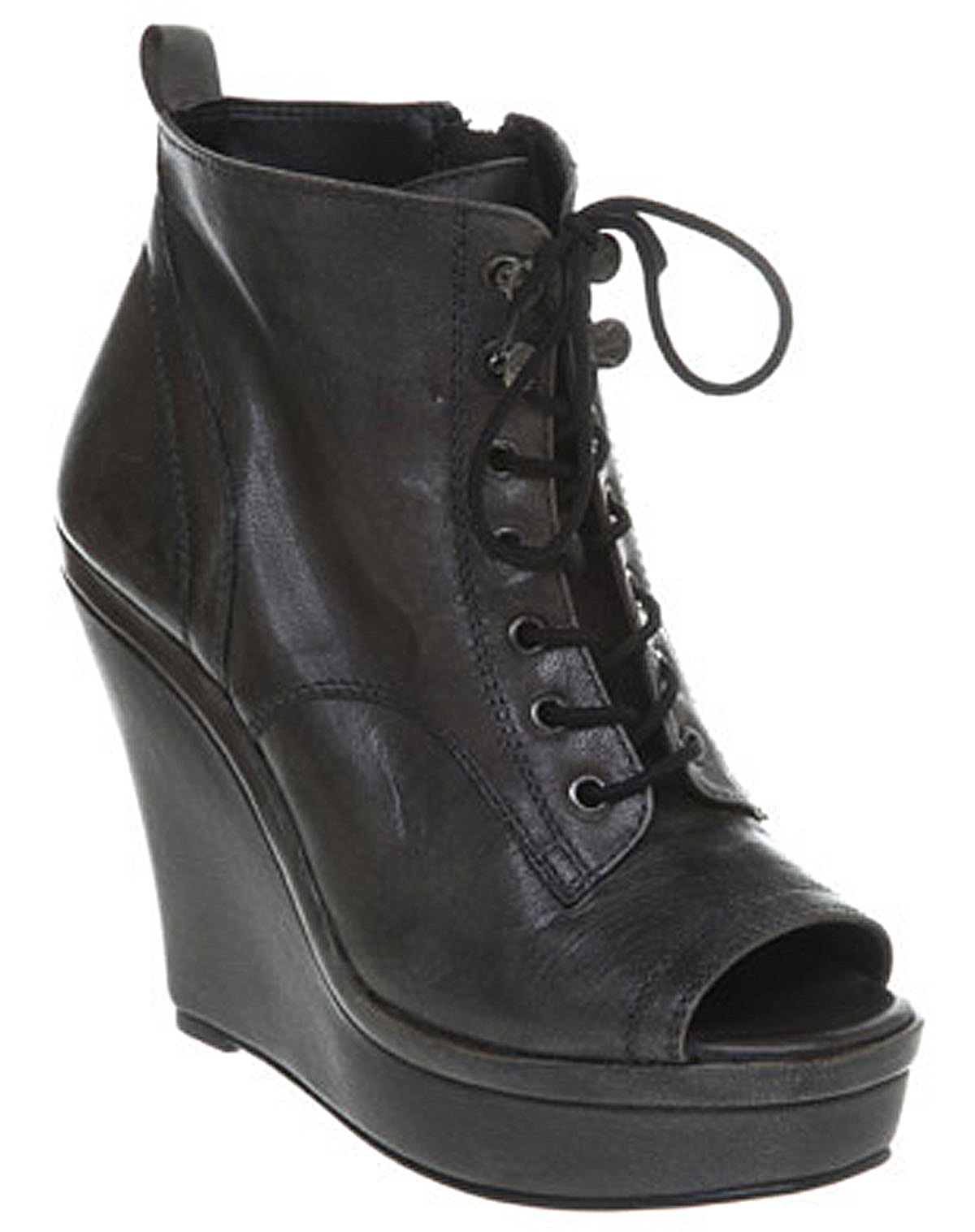Womens-Office-Kingpin-Wedge-Boot-Black-Leather-Boots