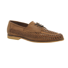 Mens Office Brixton Weave Lace Loafers Tan Washed
