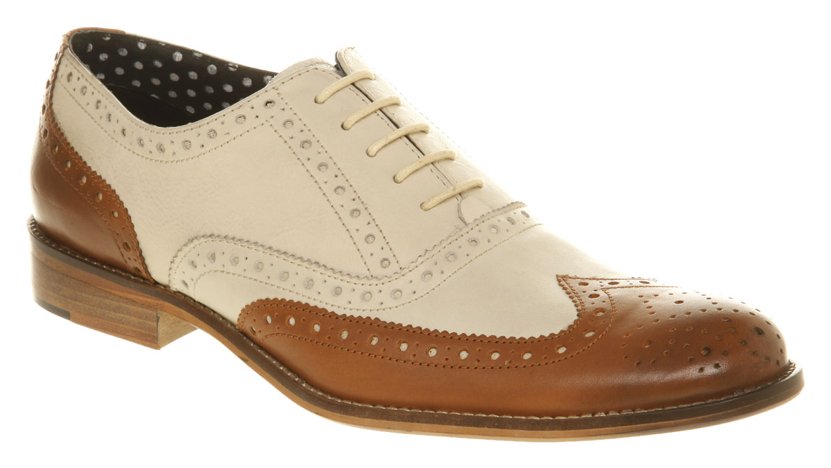 Image Is Loading Mens Office Frankie Brogue Tan Amp White Leatherh