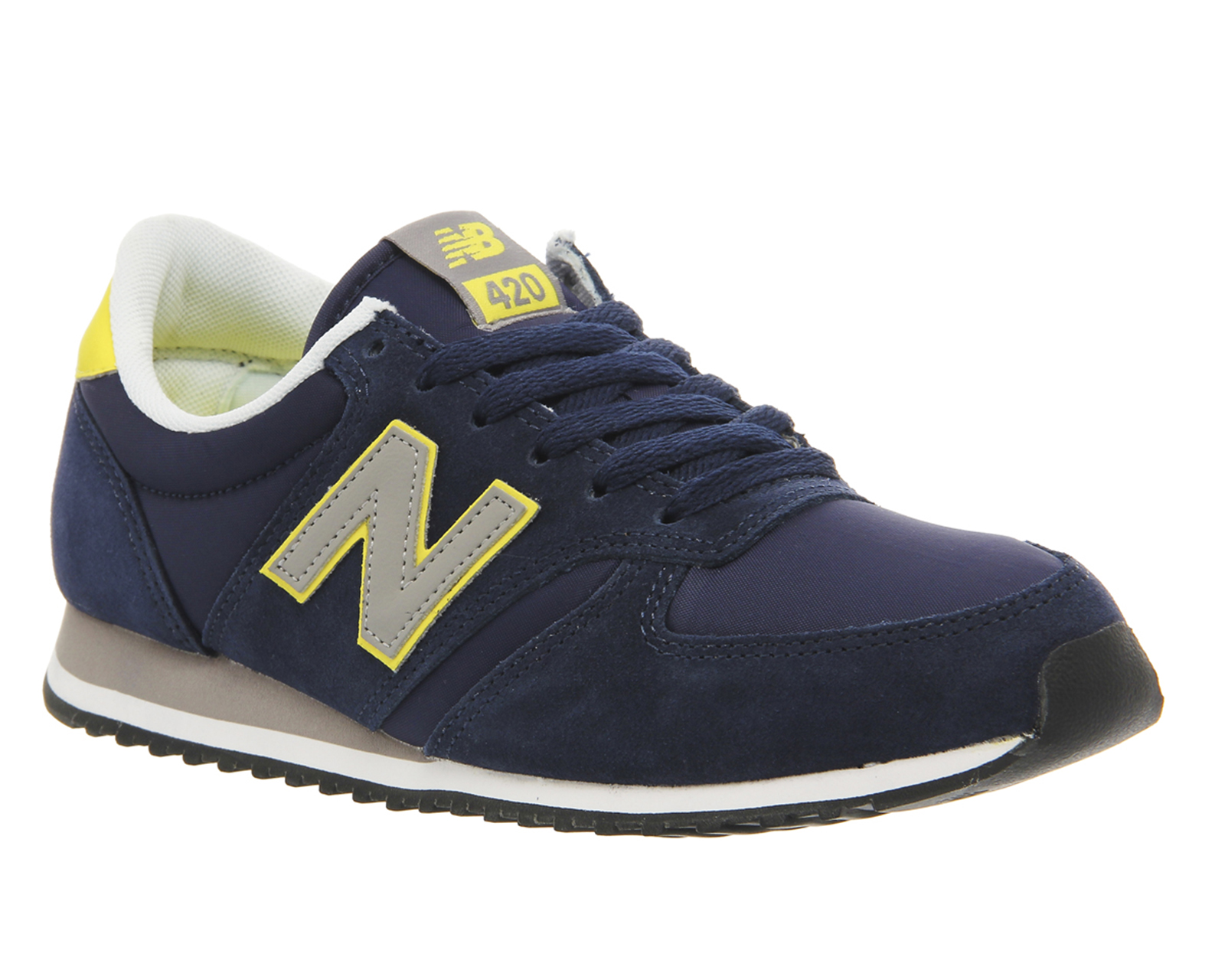 mens new balance u420 trainers navy yellow grey exclusive. Black Bedroom Furniture Sets. Home Design Ideas