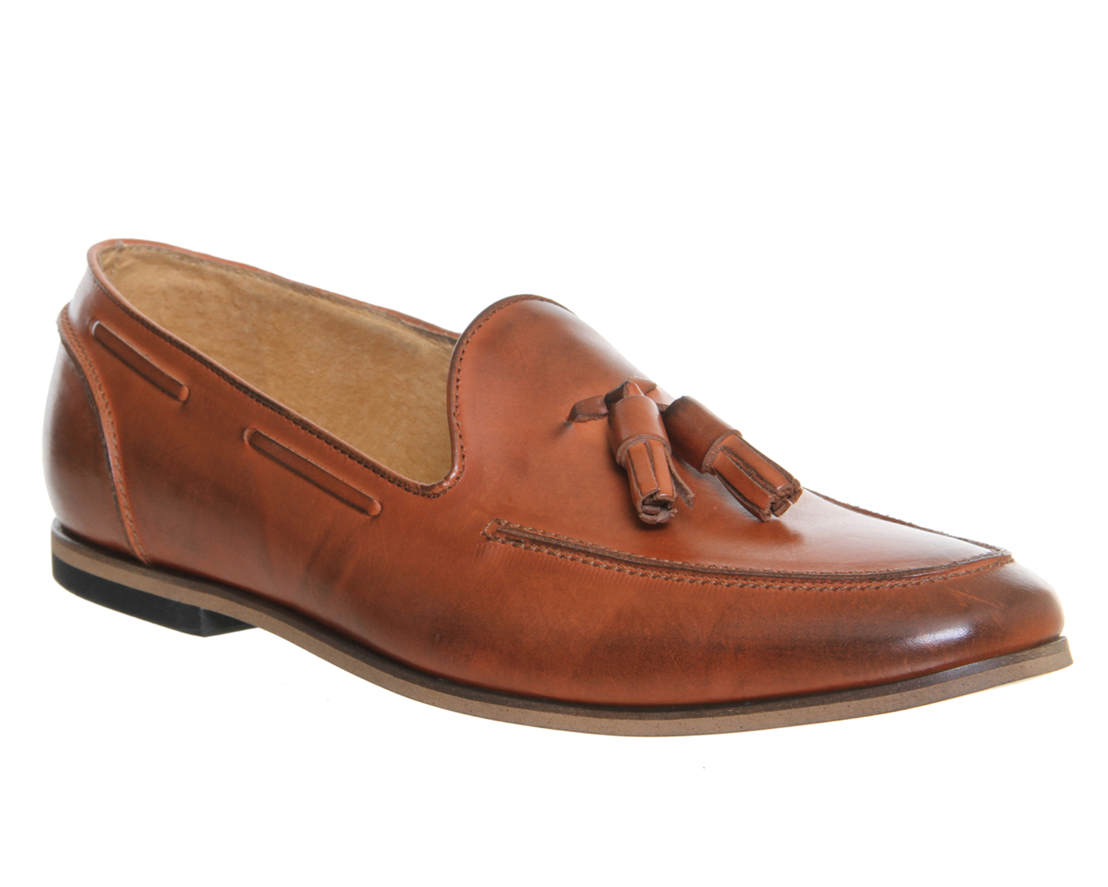 mens ask the missus avocado tassel loafers cognac leather