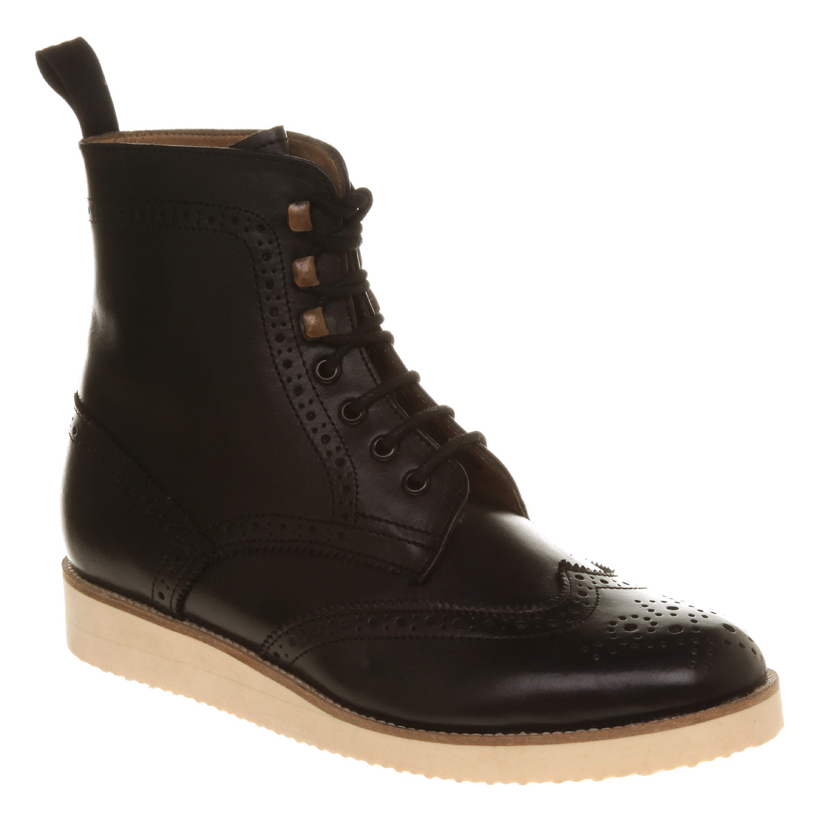 mens office berry brogue boot black leather boots ebay