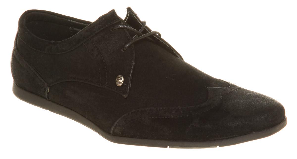 mens firetrap brake black suede casual shoes