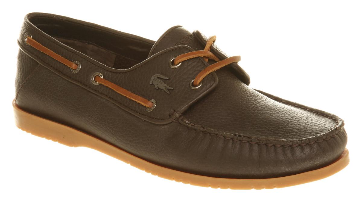 mens lacoste arlez boat shoe brown leather shoes ebay