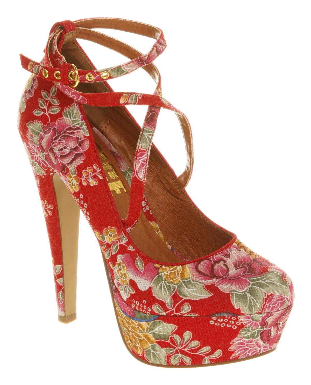 Red Floral Heels