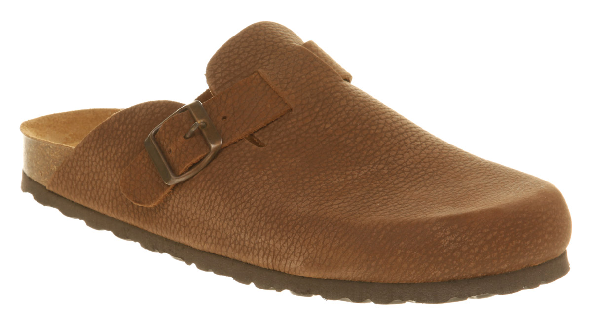 Mens-Office-Slip-On-Clog-Brown-Leather-Sandals
