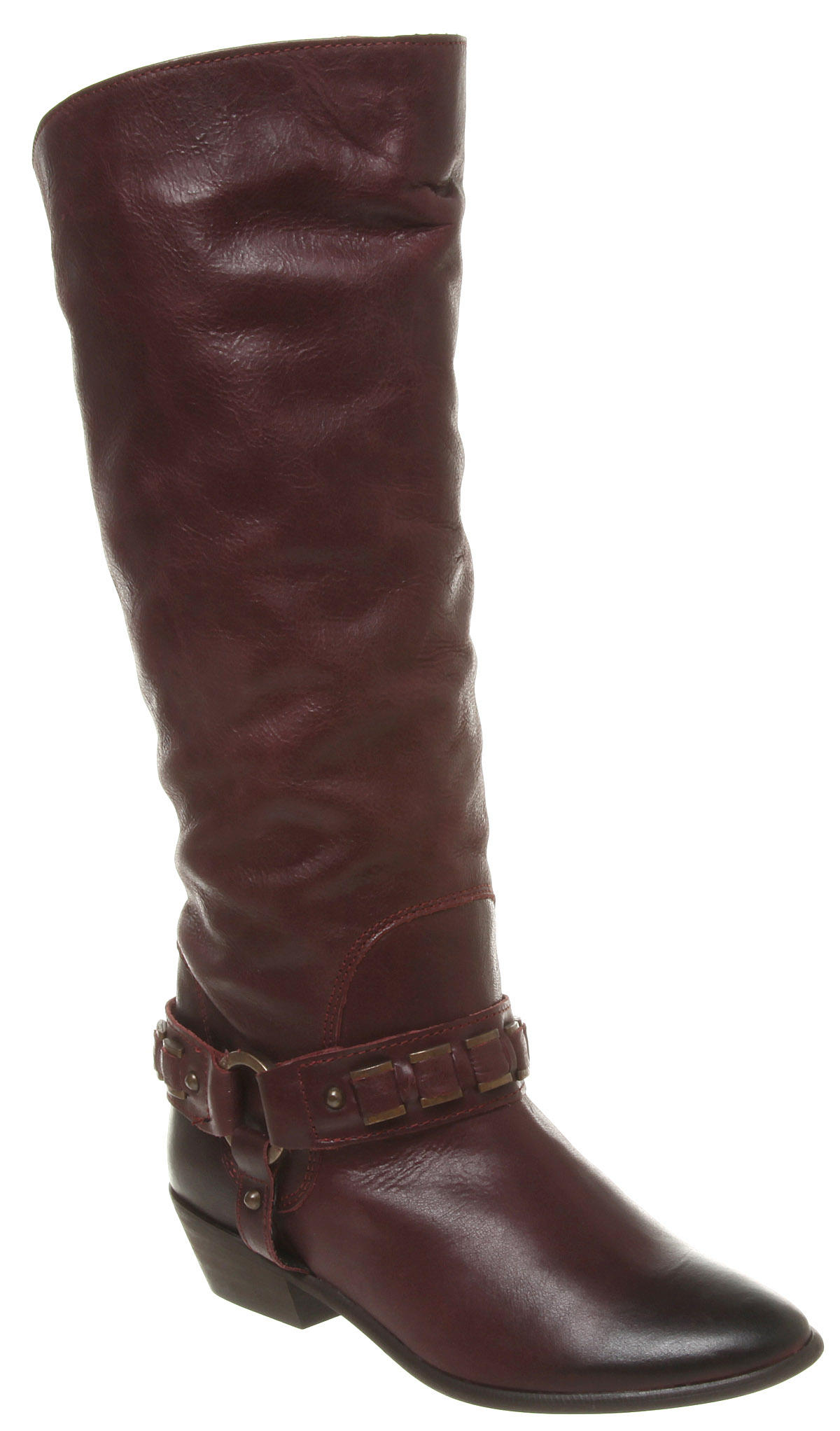 womens office chained up burgundy leather boots ex display