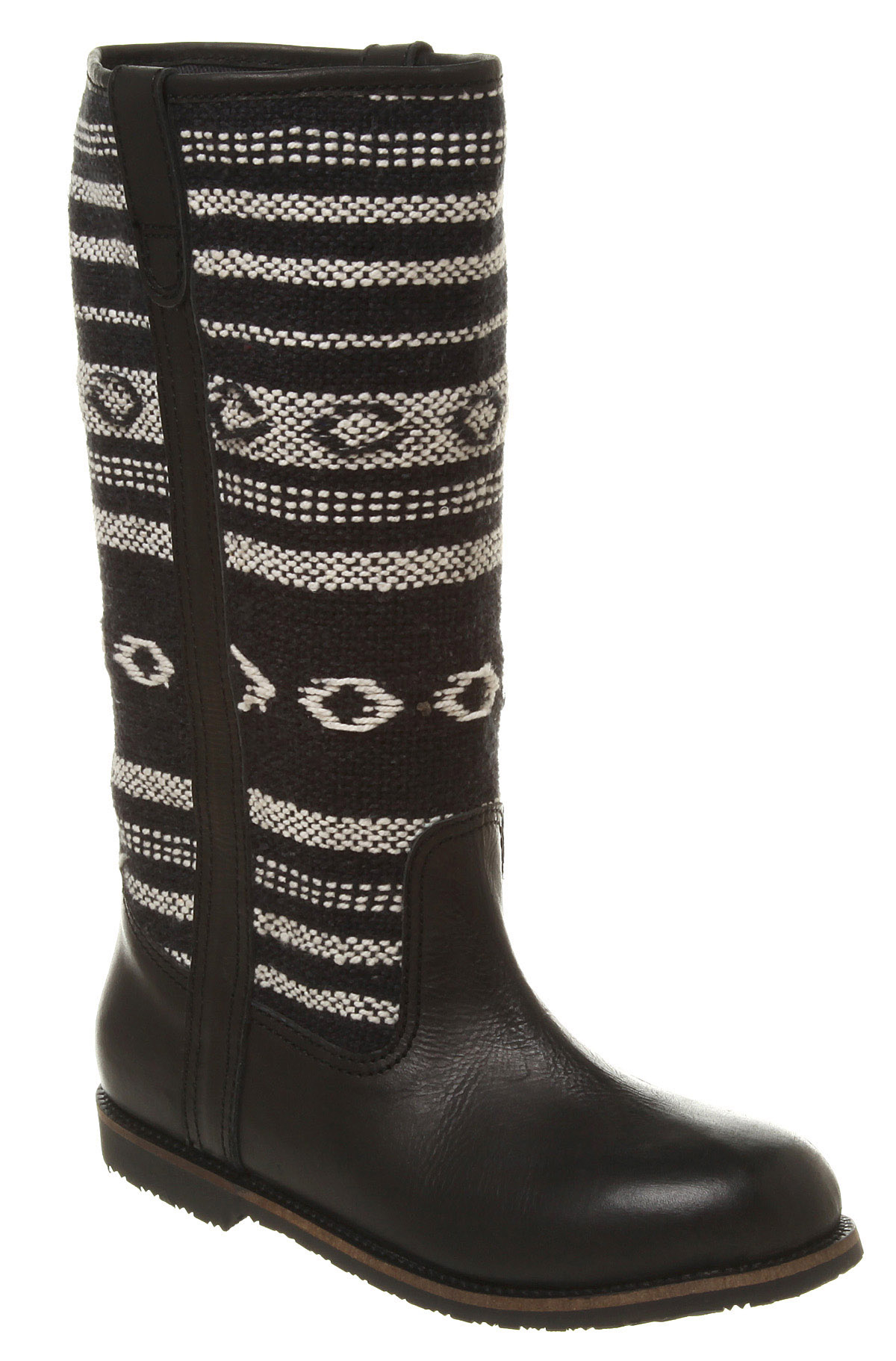 office cavern tapestry black leather tapest boots ex