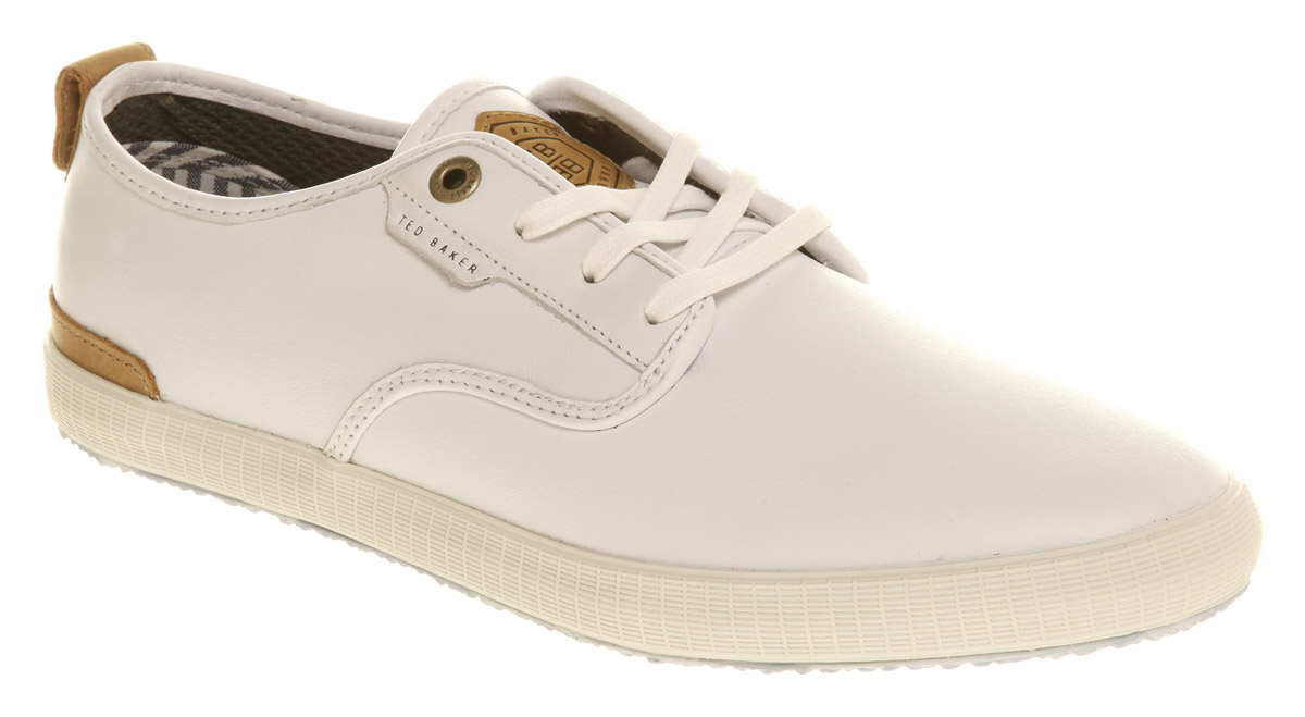 mens ted baker anuun sneaker white leather casual shoes ebay