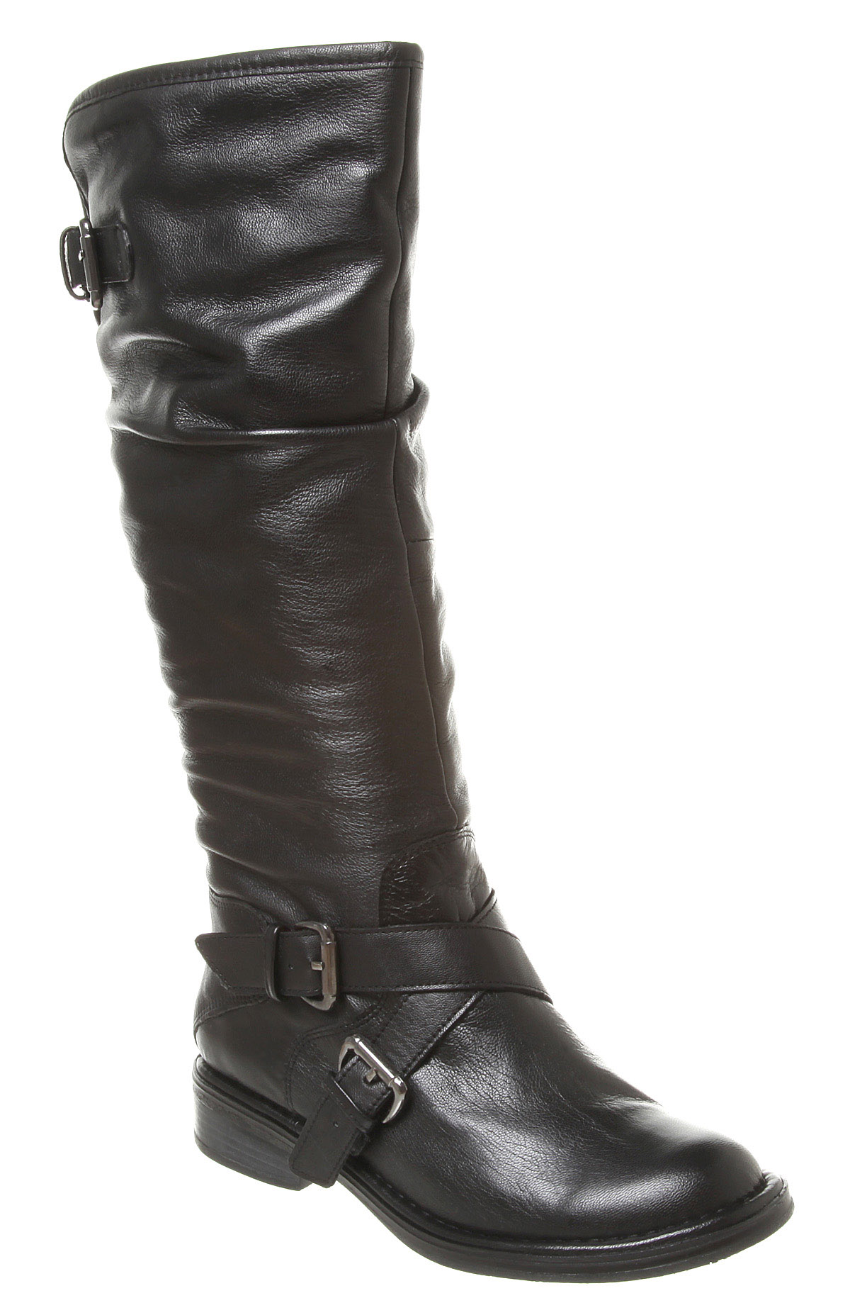 womens office fur boot black leather boots ebay