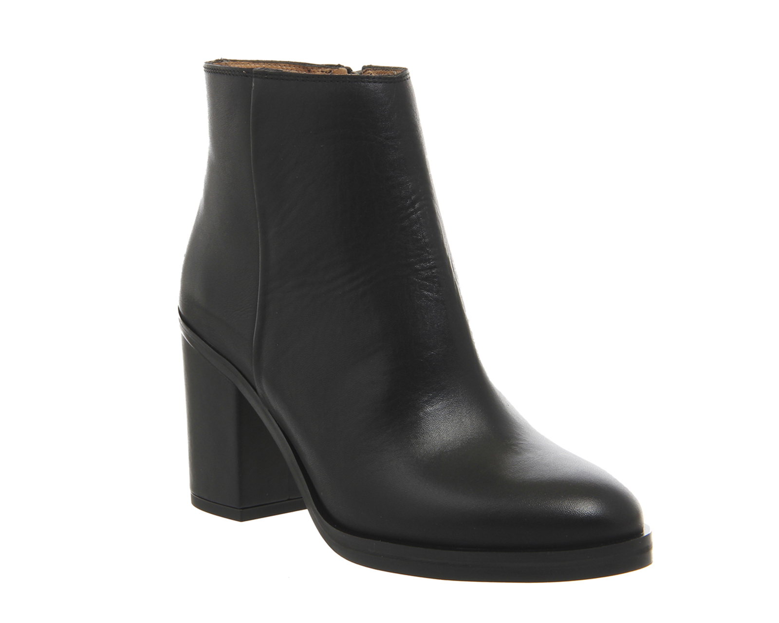 womens office ivory block heel boots black leather boots