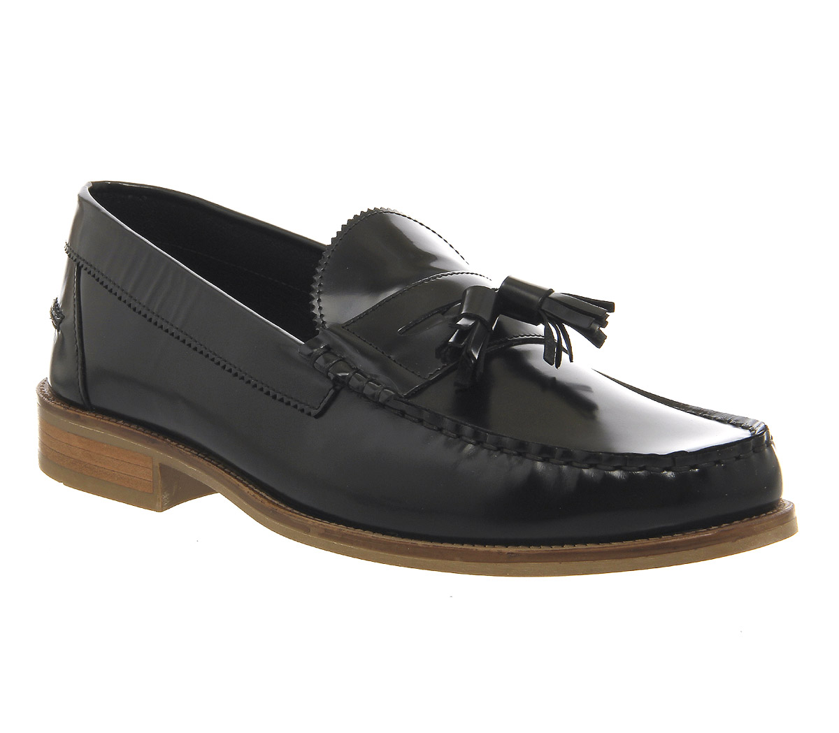 Mens Ask the Missus Bonjourno Tassel Loafers BLACK HI SHINE LEATHER Casual Shoes