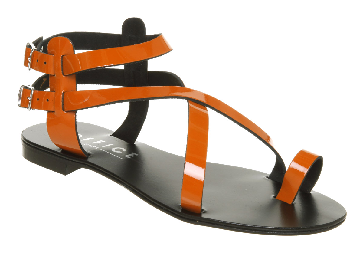 Womens-Office-Senorita-Toe-Loop-Orange-Patent-Sandals