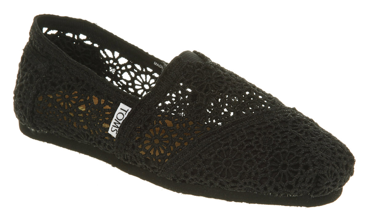 Womens-Toms-Classic-Slip-On-2011-Black-Crochet-Flats