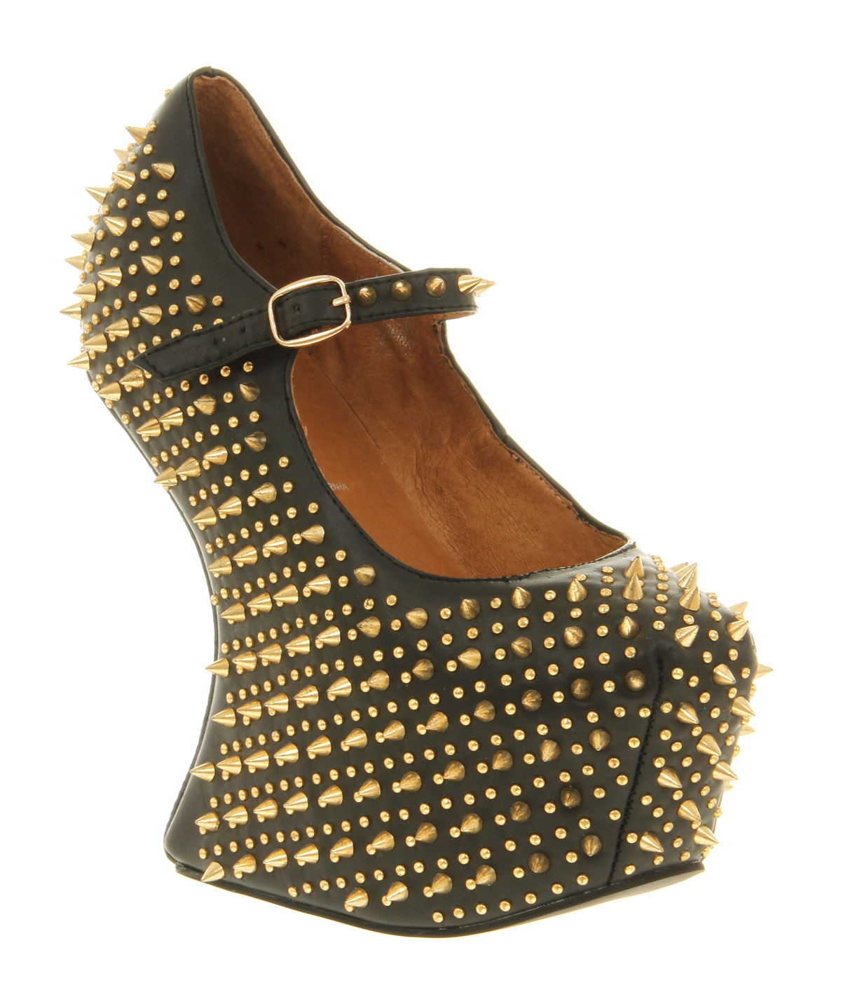 Womens Jeffrey Campbell Prickly Wedge BLACK LEATHER GOLD SPIKE ...