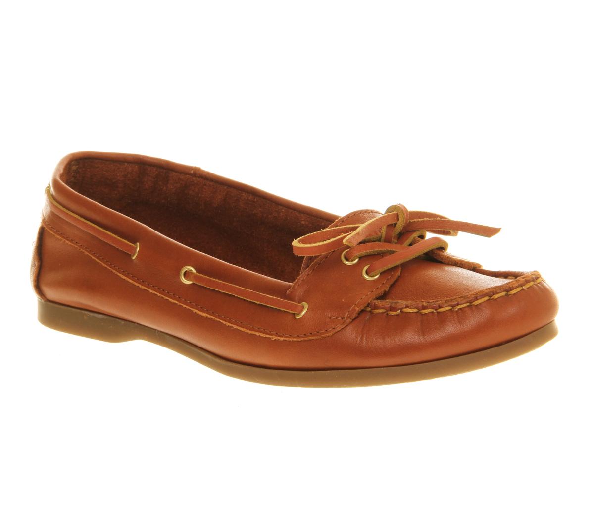 Office Marina Lace Womens Flats Tan Leather