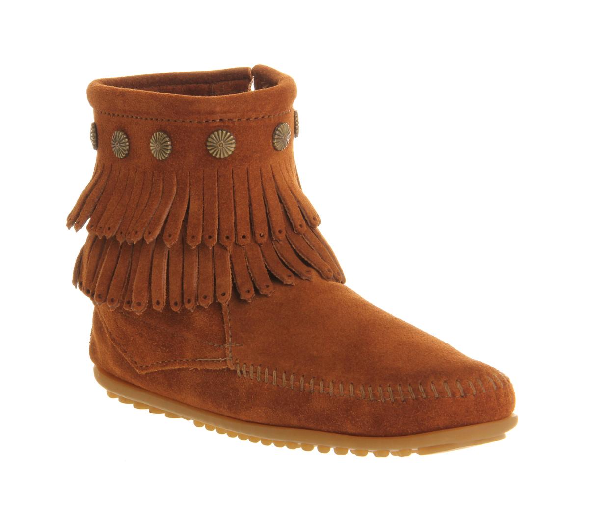 womens minnetonka fringe side zip boots brown suede