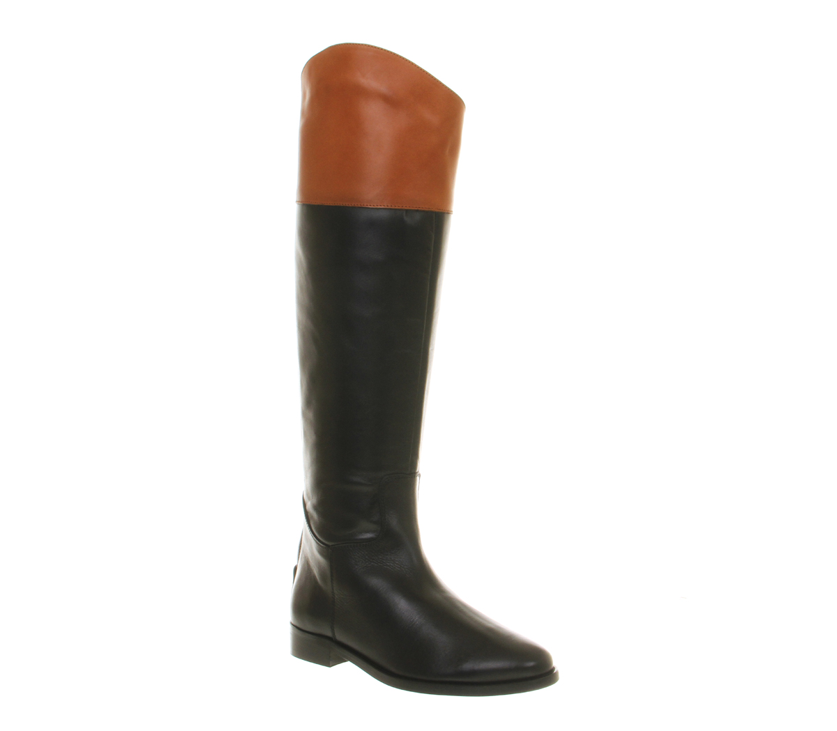 Office All Out Riding Womens Knee Boots Black Tan Leather