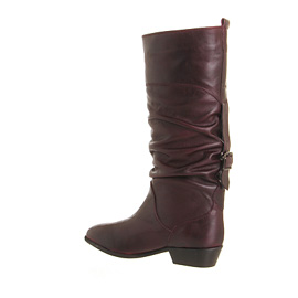 Womens Office Ace Slouch Boots Burgundy Leather