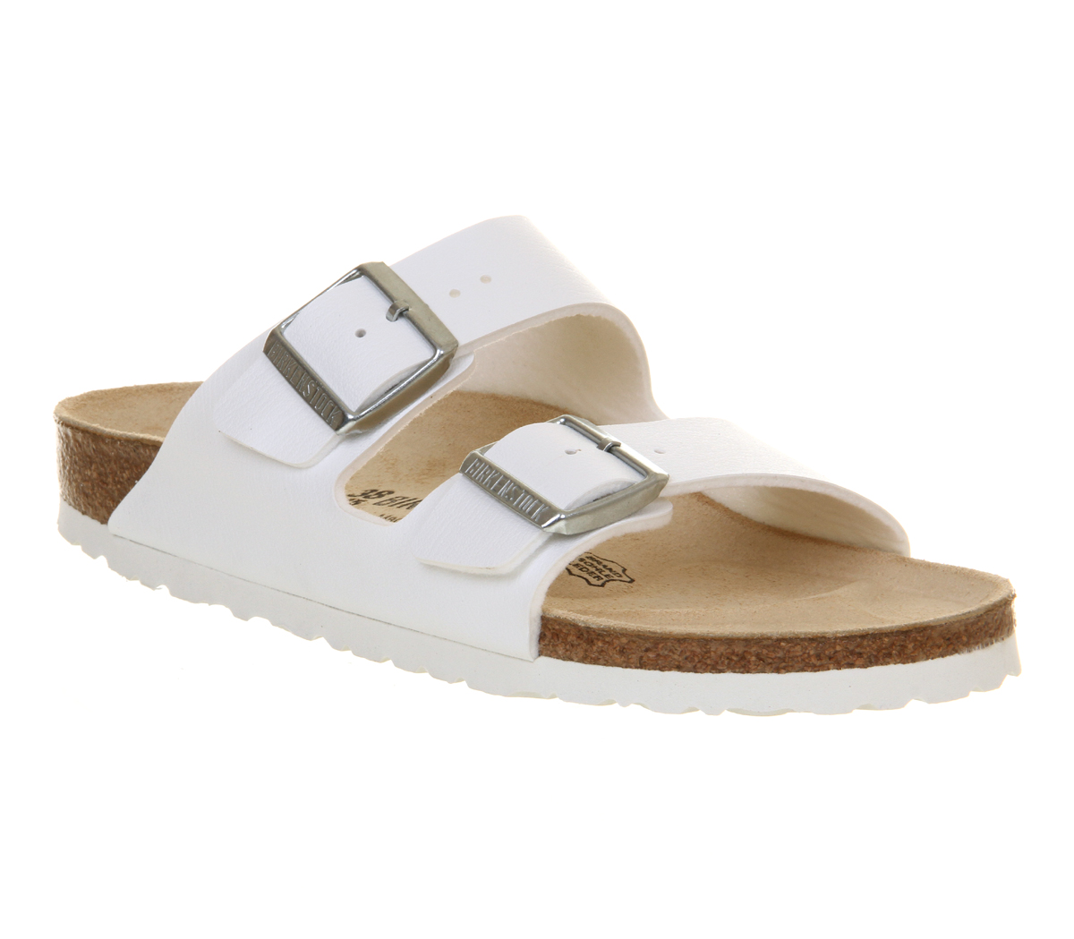 Womens Birkenstock Arizona Two Strap Sandals White Birko