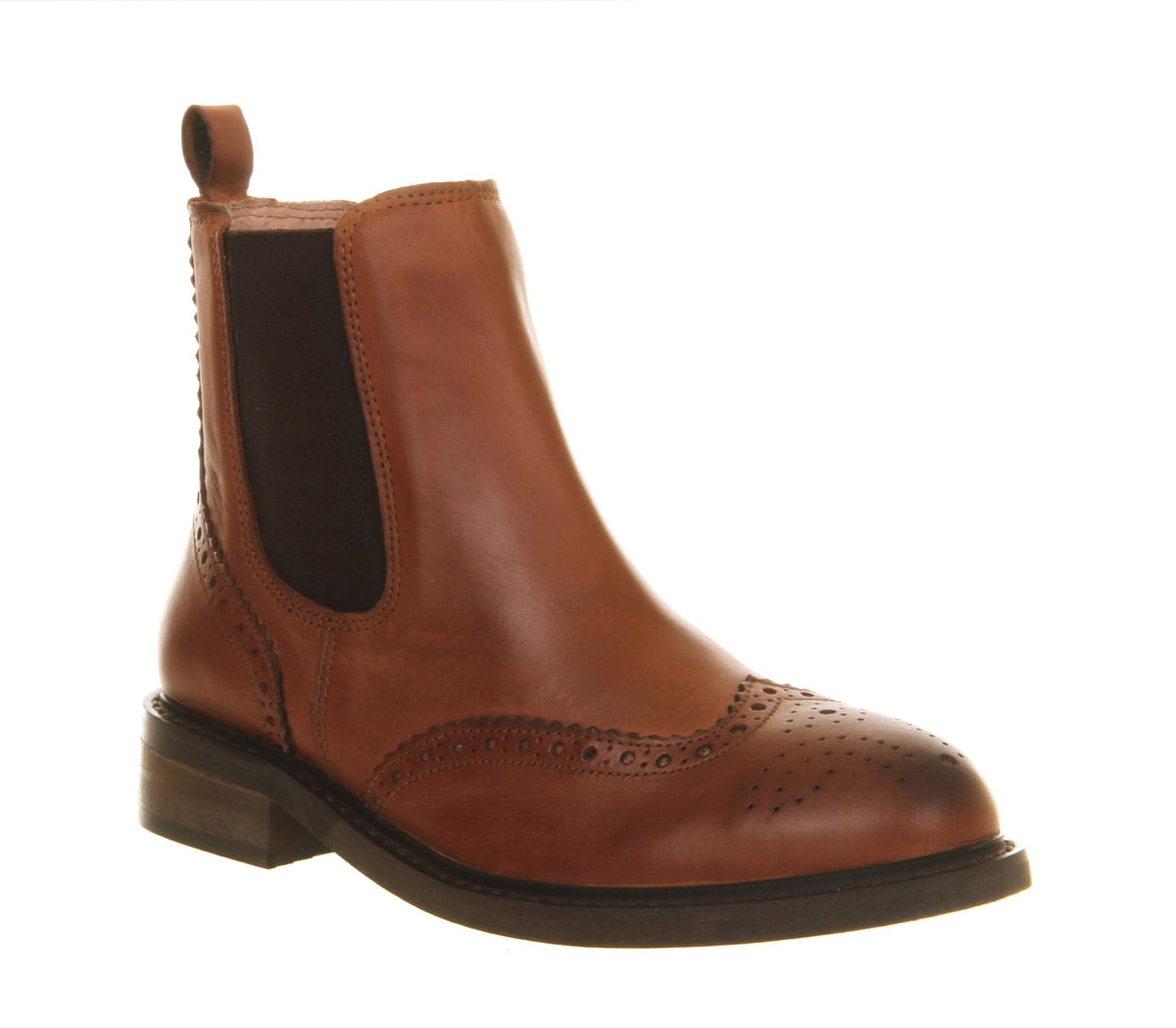 Womens-Office-Baron-Brogue-Chelsea-Brown-Leather-Boots-