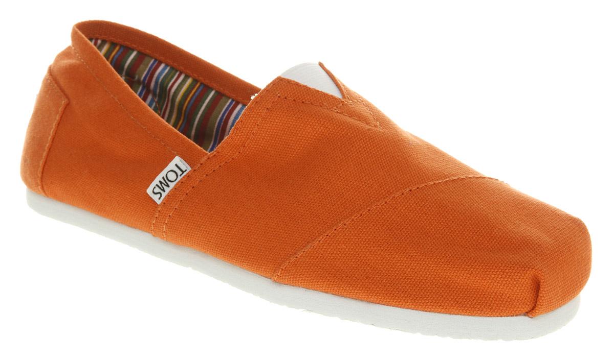 mens toms toms canvas orange canvas casual shoes
