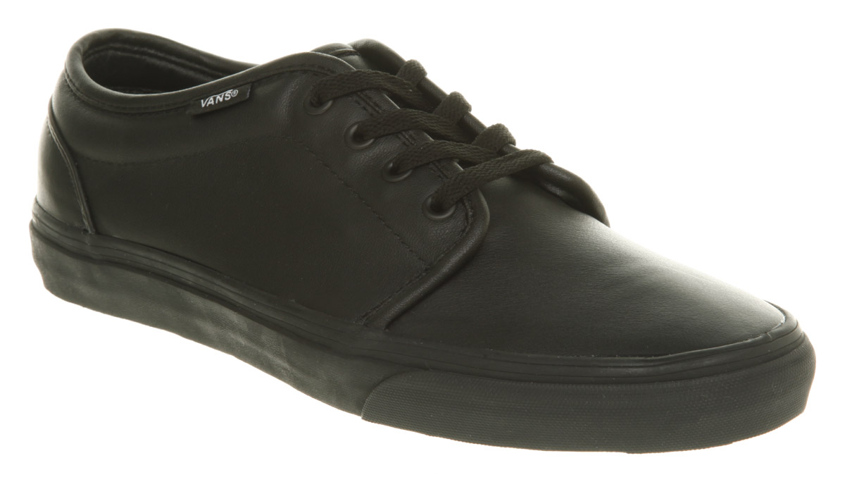 vans 106 vulcanized black leather trainers shoes ebay