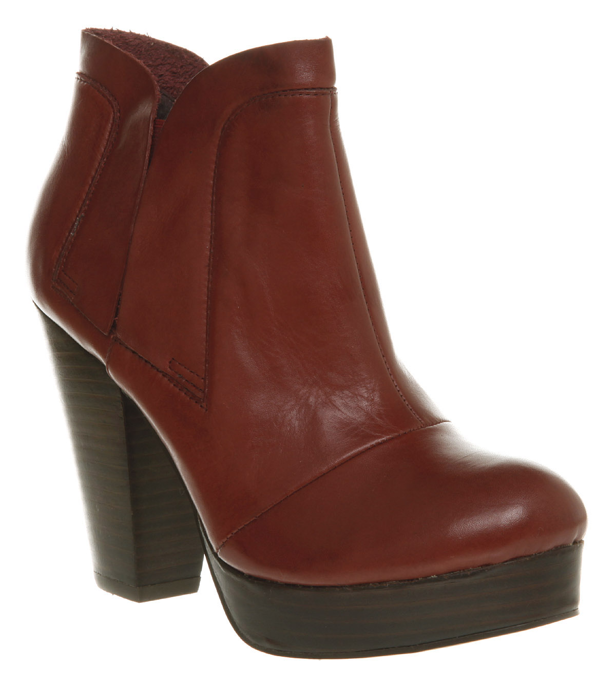 womens office novice chelsea burgundy leather boots new ebay
