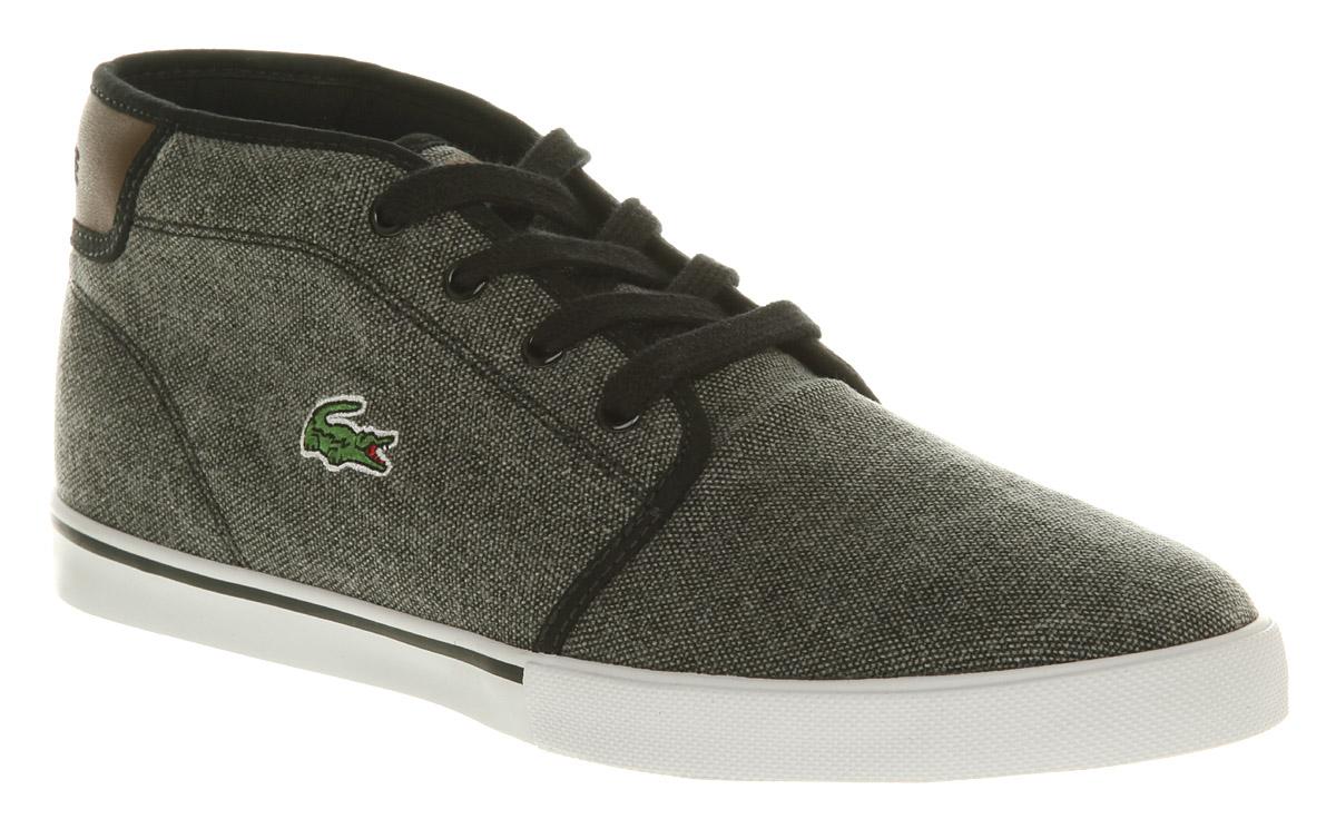 mens lacoste thill black canvas shoe trainers shoes ebay