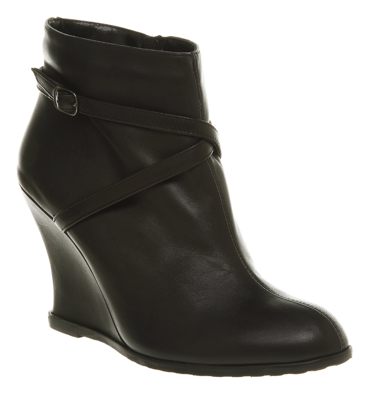 womens office new cross wedge black leather boots shoes ebay
