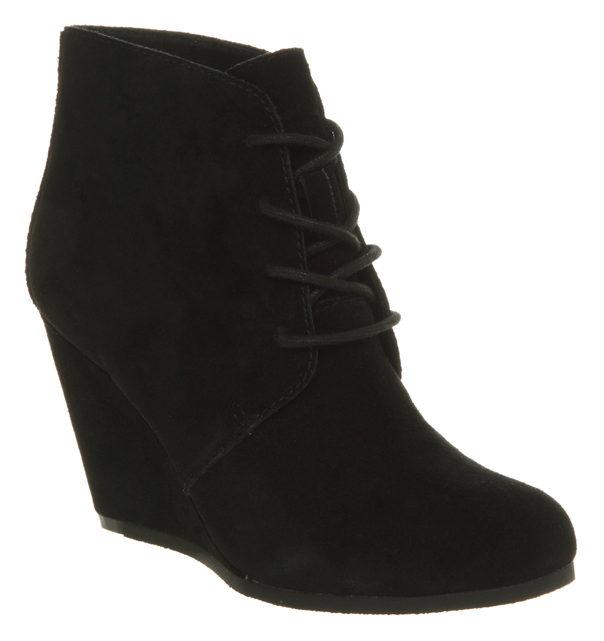 womens office lace up wedge black suede boots ebay