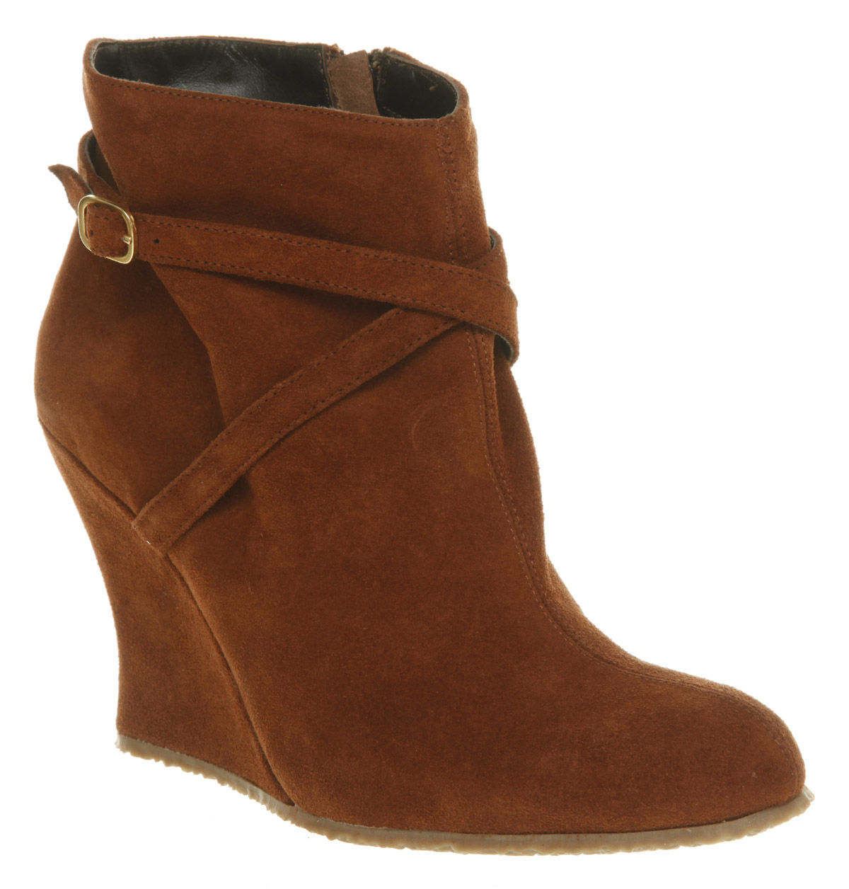 womens office new cross wedge rust suede boots shoes ebay