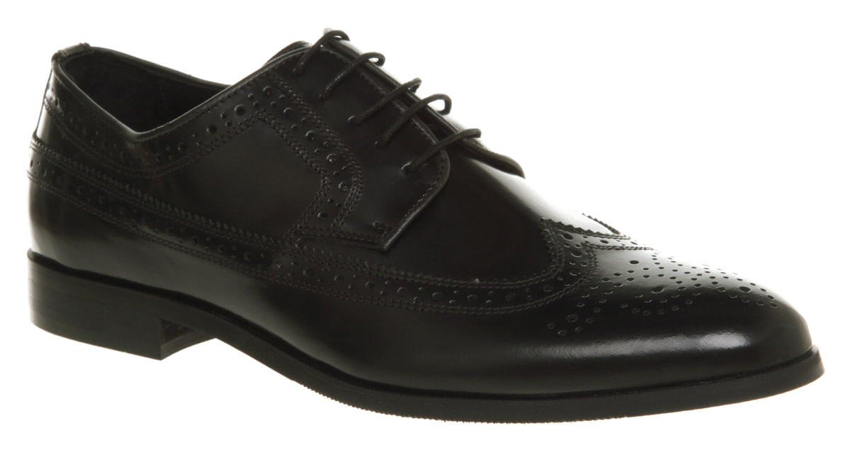 Mens Ask The Missus Brogue Black Leather Formal Shoes
